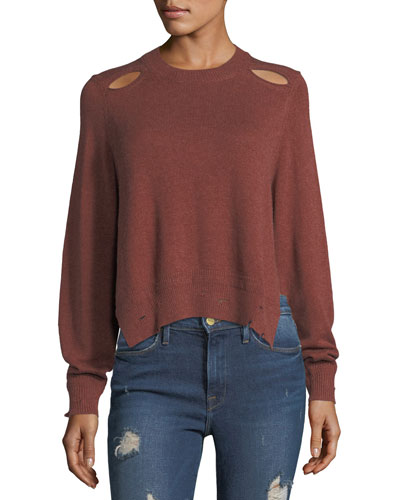 Kelia Crewneck Distressed Cotton-Wool Sweater