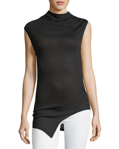 Berth Sleeveless Cowl-Neck Top