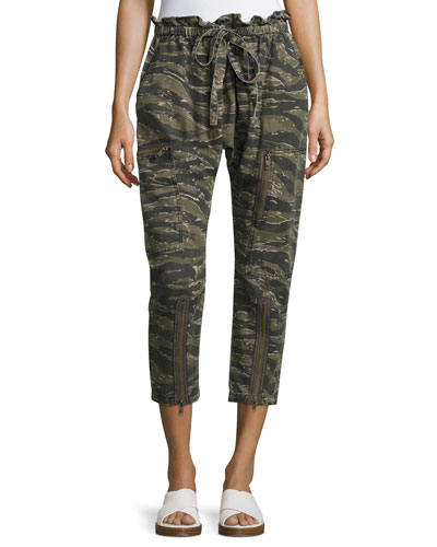 The Aviation Zip Camo Pants, Green Pattern