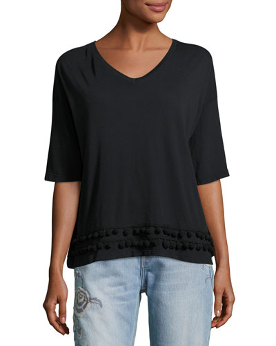 The Pompom V-Neck Tee, Black