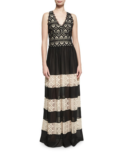 Tilly Lace Insert Maxi Dress, Black