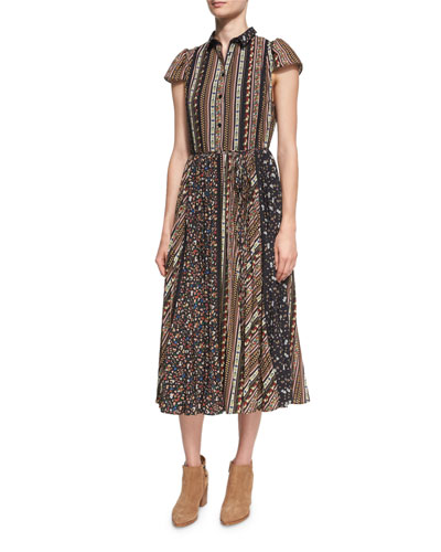 Bale Lace Insert Pleated Midi Dress, Multi Pattern
