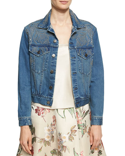 Chloe Studded Denim Jacket, Blue