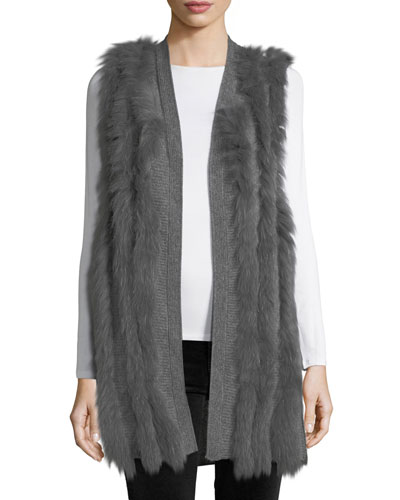 Cashmere Vest w/ Fox Fur Stripes