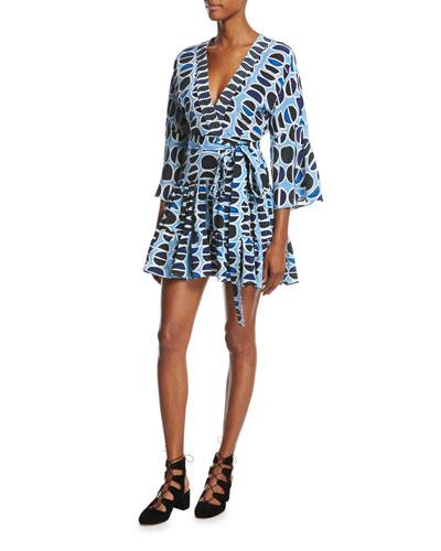 Julienne Printed Mini Dress, Blue Pattern