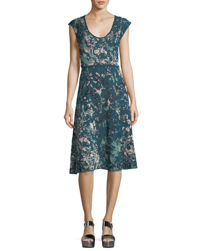 Scoop-Neck Floral Jacquard Cap-Sleeve Dress