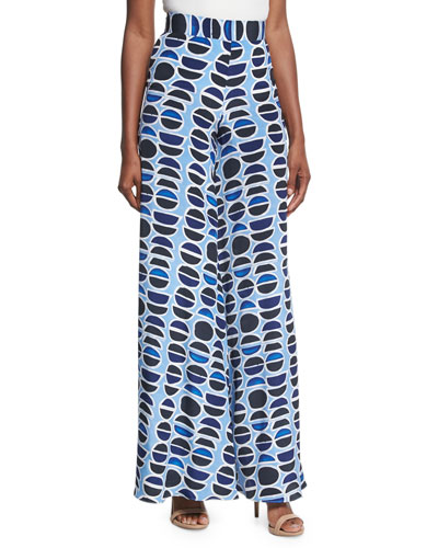 Auden High-Waist Wide-Leg Pants, Blue Pattern