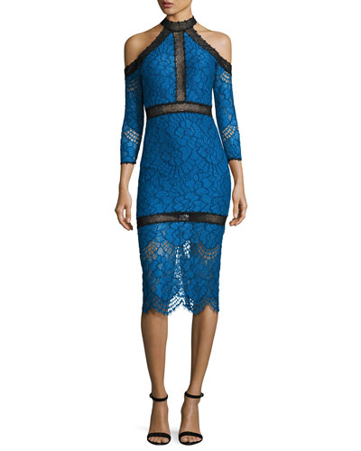 Marlowe Cold-Shoulder Lace Midi Dress, Blue