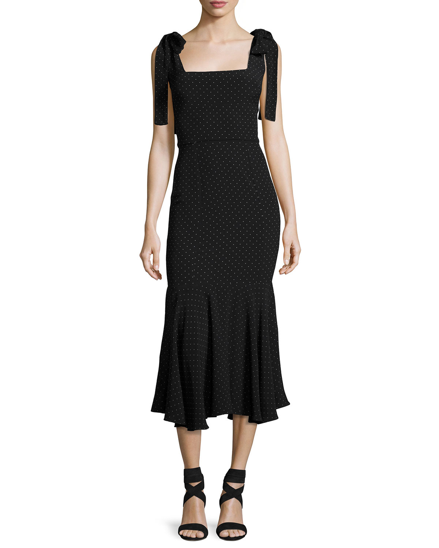Pauldine Dotted Square-Neck Midi Cocktail Dress, Black Pattern