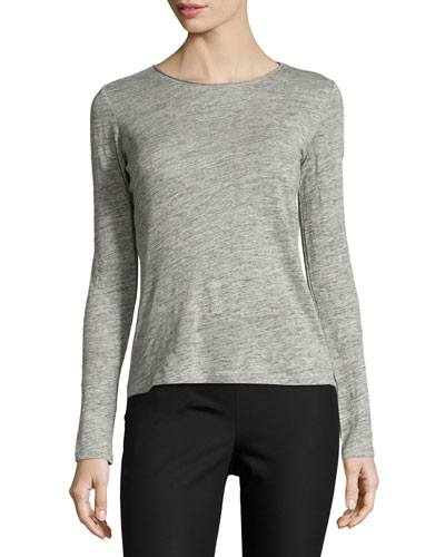 Roll-Stitch Long-Sleeve Linen Tee, Gray