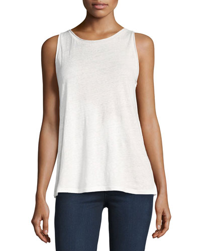 Roll-Stitch Airy Linen Tank Top, White