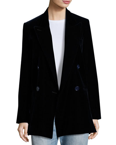 Jara Velvet Double-Breasted Long Blazer, Dark Blue