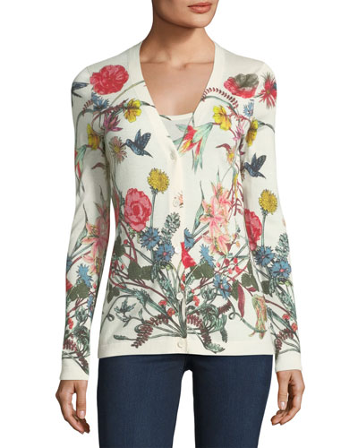 Superfine Wildflower-Print Cashmere Cardigan