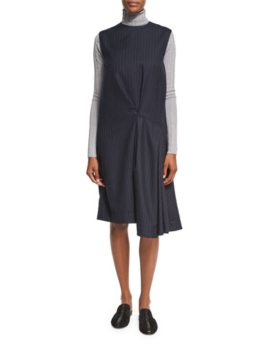 Danya Pinstripe Wool Midi Dress, Blue