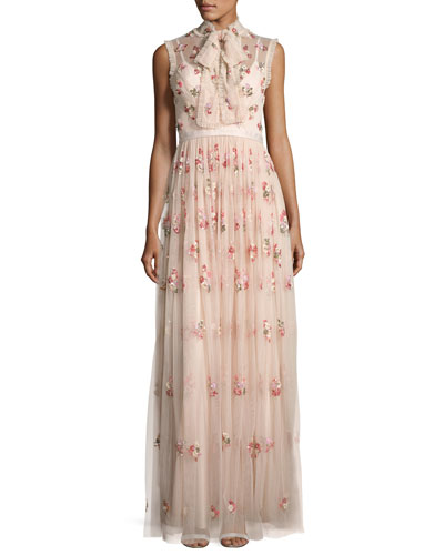 Ditsy Floral Bow-Tie Tulle Gown, Pink