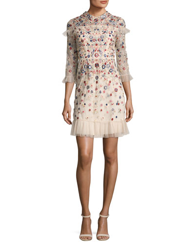 Posy Embroidered Tulle Dress, Pink