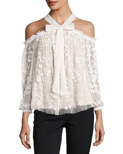 Primrose Cold-Shoulder Floral Tulle Top, White