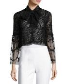 Primrose Tie-Front Tulle Jacket, Black