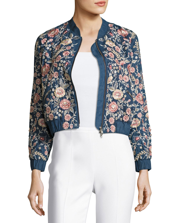 Sundaze Embroidered Denim Bomber Jacket, Blue