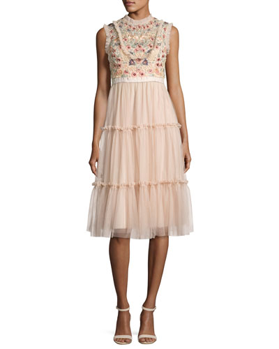 Sundaze Tiered Tulle Midi Dress, Pink