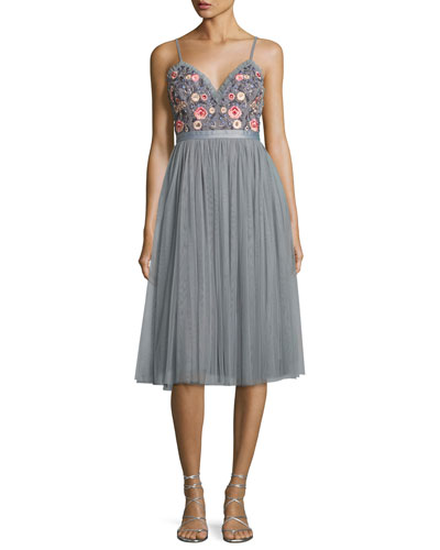 Whisper Embellished Georgette Midi Dress, Gray