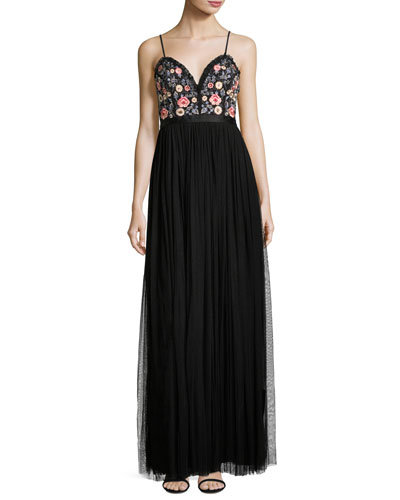 Whisper Embellished Georgette Maxi Dress, Black