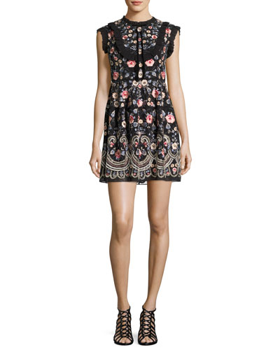 Whisper Prom Embroidered Mini Dress, Black