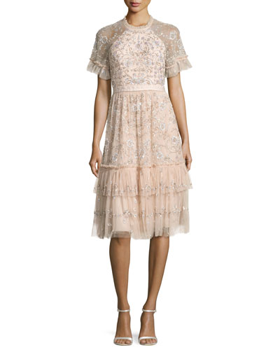 Constellation Embellished Lace Tulle Midi Dress, Pink
