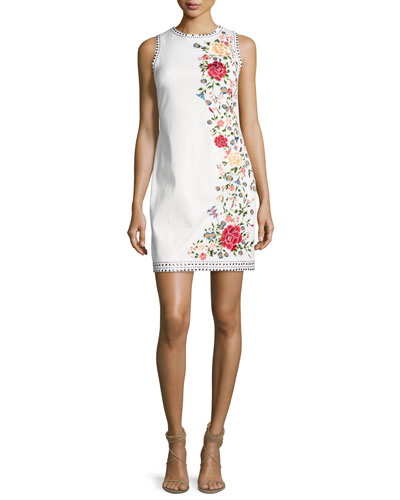 Nat Embroidered Border Studded Mini Dress, White Multi