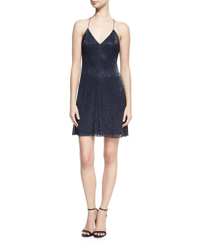 Suze V-Neck Sequined Mini Dress, Blue