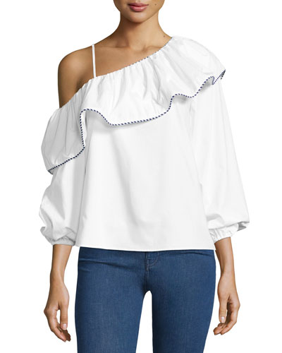 Kammi One-Shoulder Cotton Blouse, White
