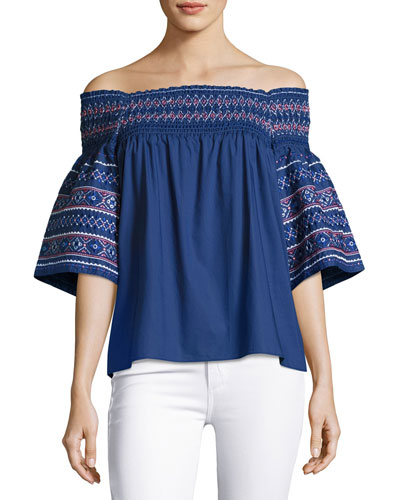 Yasmin Off-the-Shoulder Cotton Blouse