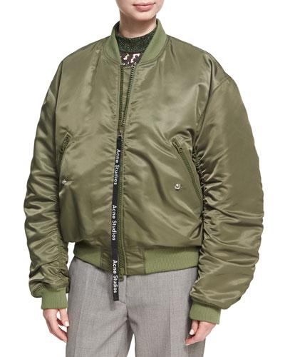 Clea Ruched Nylon Bomber Jacket, Olive
