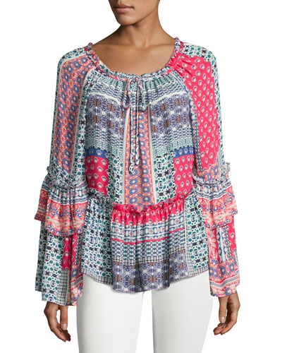 Scarlet Silk Peasant Blouse, Pink Blue Multi
