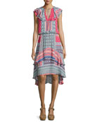 Sistine Tiered Ruffled Silk Dress