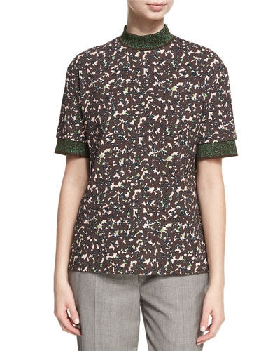 Meike Flecked Camouflage Mock-Neck Top, Red Pattern