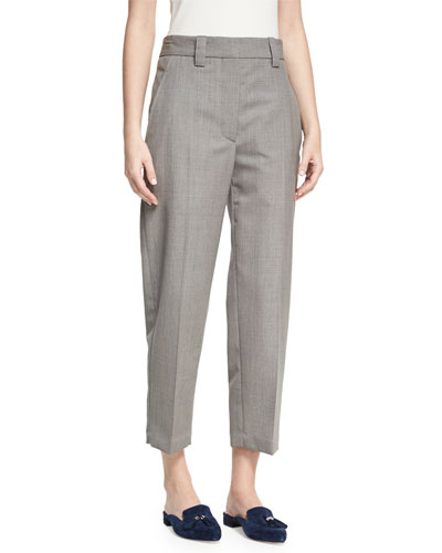 Trea Cropped Flat-Front Trousers, Light Gray