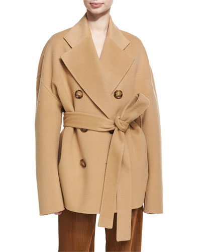 Claar Double-Breasted Wool-Cashmere Coat, Camel