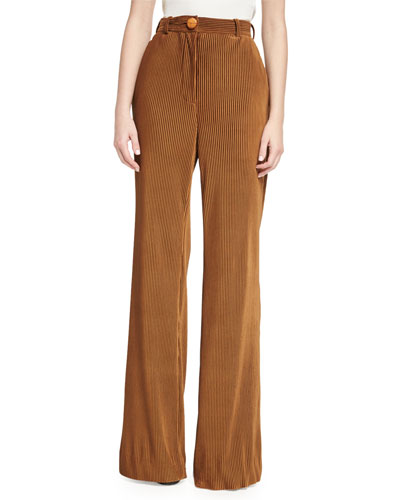 Tessel Pinstripe Corduroy High-Waist Flare Pants, Camel