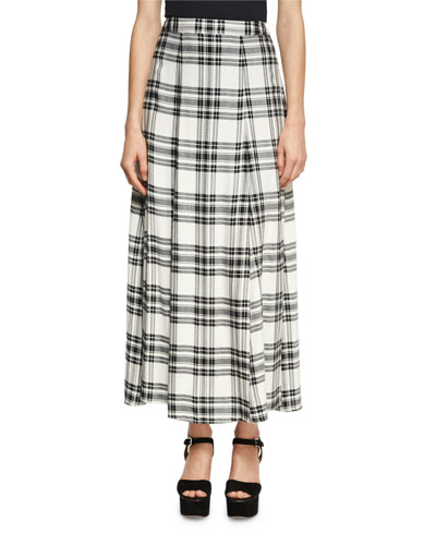 Athena Double Slit Plaid Maxi Skirt, White/Black