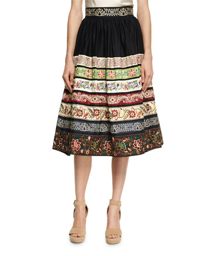 Birdie Embroidered Full Midi Skirt, Black Pattern