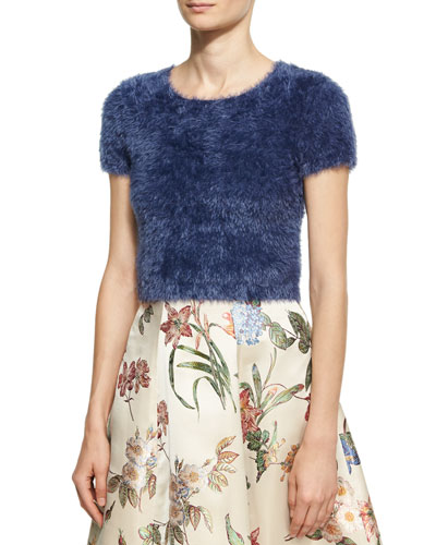 Ciara Furry Short-Sleeve Sweater, Blue