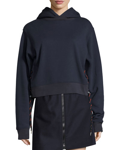 Bale Sweatshirt Hoodie with Shoelace Sides, Navy