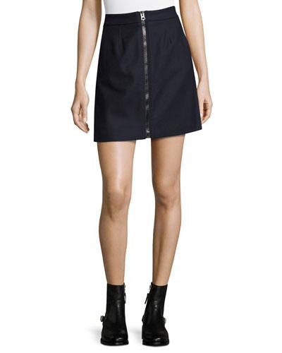 Suraya Flannel Zip-Front Miniskirt, Navy