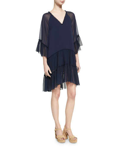 Zoey Tiered V-Neck Tunic Dress, Blue