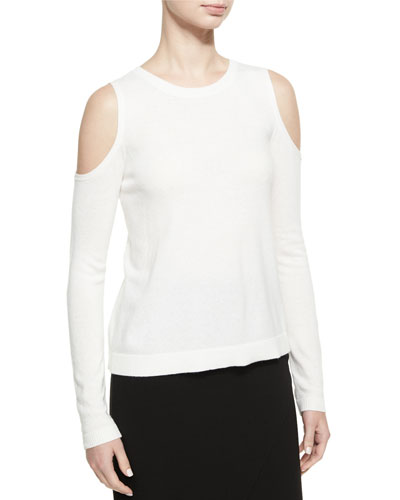 Wade Cold-Shoulder Pullover Sweater, White
