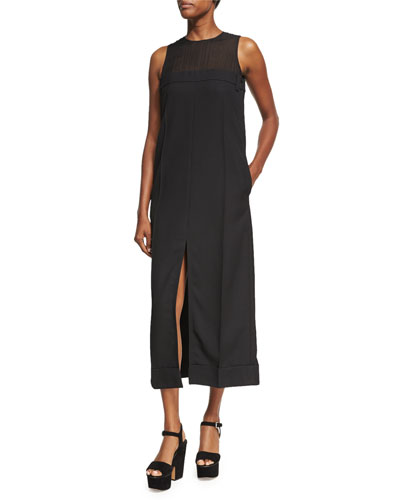 Daran Slit-Front Wool Midi Dress, Black