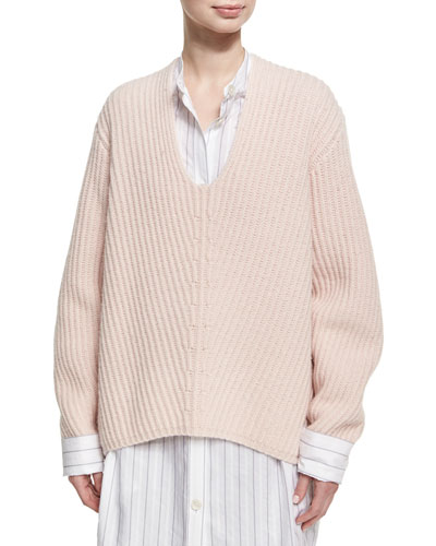 Deborah Oversized Wool V-Neck Sweater, Light Pink