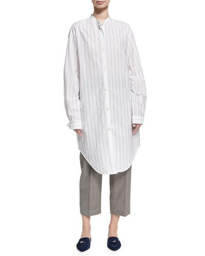 Deide Pinstripe Cotton Tunic Shirt, White