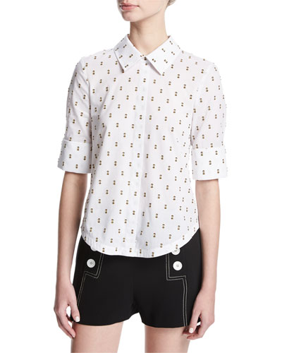 Tie-Back Shirt W/ Button Detail, White